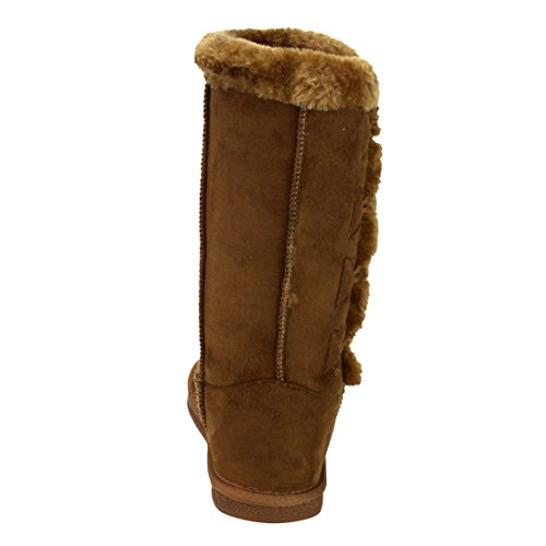 LINK-GE48-Girls-Under-Knee-High-Four-Buttons-Flat-Heel-Winter-Snow-Boots-ColorTAN-Size4-M-US-Big-Kid-0-5