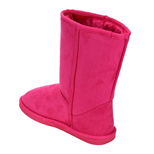 LINK-GE49-Girls-Mid-Calf-Pull-On-Style-Winter-Snow-Boots-ColorFUCHSIA-Size3-M-US-Little-Kid-0-4