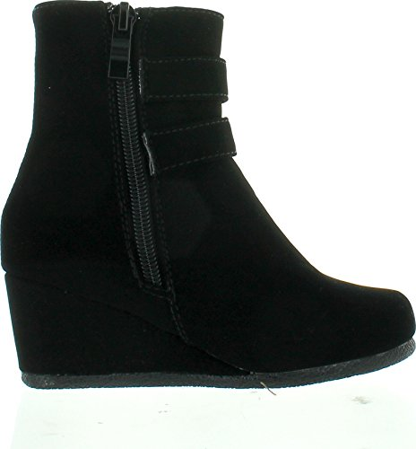 Link-Peggy-90K-Children-Girls-Wedge-Heel-Double-Straps-High-Top-Ankle-BootiesBlack4-0-0
