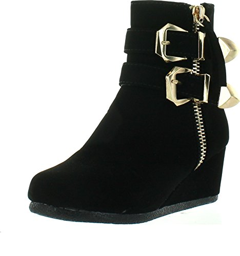 Link-Peggy-90K-Children-Girls-Wedge-Heel-Double-Straps-High-Top-Ankle-BootiesBlack4-0