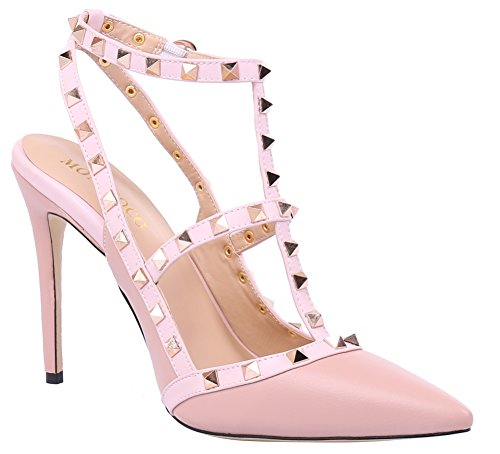MONICOCO-Womens-Stiletto-Heels-Pumps-with-Studded-T-strap-Shoes-Beige-PU-12-M-US-0-3