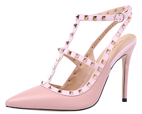 MONICOCO-Womens-Stiletto-Heels-Pumps-with-Studded-T-strap-Shoes-Beige-PU-12-M-US-0