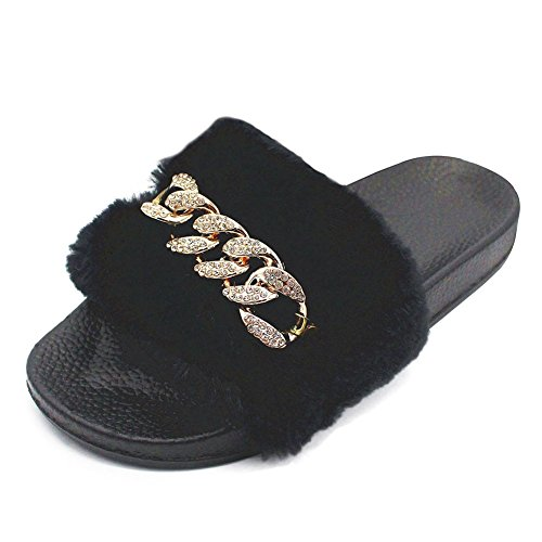 Meeshine-Womens-Faux-Fur-Soft-Slipper-House-Indoor-Flat-Slides-Slip-on-Shoes65-7-BM-USBlack-0