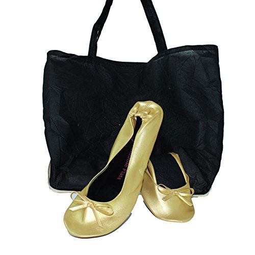 Plus-size-Womens-Gold-shoes-size-11-12-Foldable-ballet-Flats-EXPANDABLE-TOTE-Bag-to-Carrying-High-Heels-Fold-up-Folding-Shoes2ExLarge11-to-12-0-0
