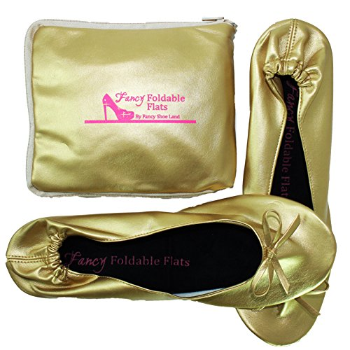 Plus-size-Womens-Gold-shoes-size-11-12-Foldable-ballet-Flats-EXPANDABLE-TOTE-Bag-to-Carrying-High-Heels-Fold-up-Folding-Shoes2ExLarge11-to-12-0-2