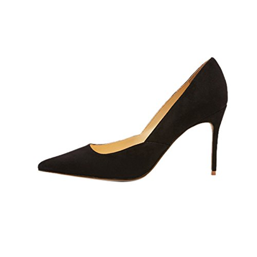 QianZuLian-Womens-Pointed-Toe-Shallow-Big-Size-High-Heel-Stilettos-Fluff-Black-Pumps-for-Banquet-Office-US10-0