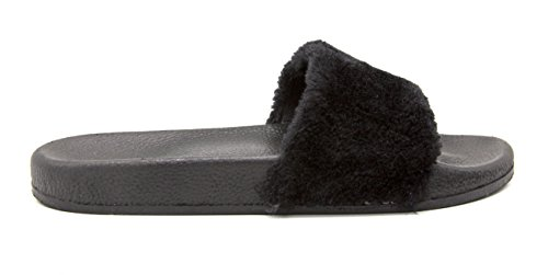 Sara-Z-Womens-Foot-bed-Plush-Strap-Slide-Size-910-Black-0