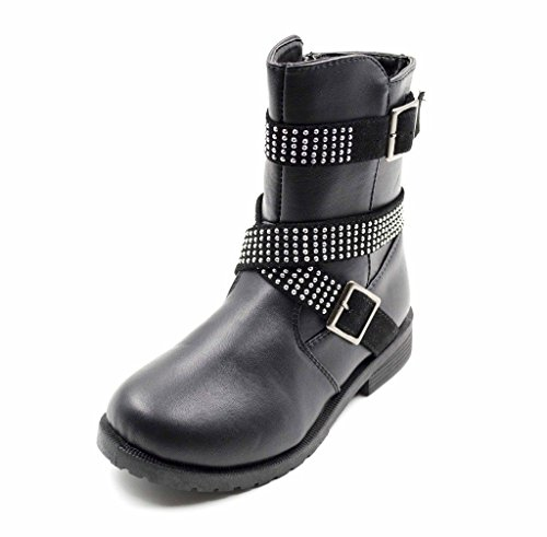Simply-Petals-Girls-Cute-Bossy-Lace-Up-Combat-Mid-Calf-Boot-with-Rhinstone-Buckles-Little-GirlBig-Girl-in-Black-Size-4-0-0
