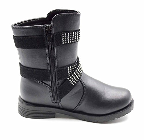 Simply-Petals-Girls-Cute-Bossy-Lace-Up-Combat-Mid-Calf-Boot-with-Rhinstone-Buckles-Little-GirlBig-Girl-in-Black-Size-4-0-2
