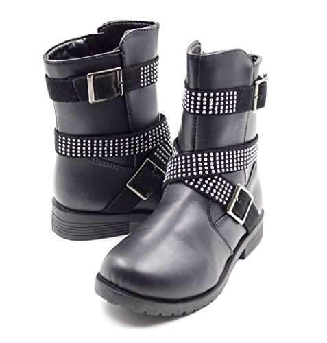Simply-Petals-Girls-Cute-Bossy-Lace-Up-Combat-Mid-Calf-Boot-with-Rhinstone-Buckles-Little-GirlBig-Girl-in-Black-Size-4-0-3