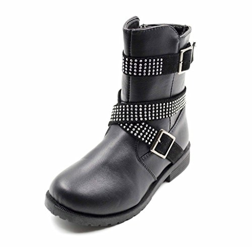 Simply-Petals-Girls-Cute-Bossy-Lace-Up-Combat-Mid-Calf-Boot-with-Rhinstone-Buckles-Little-GirlBig-Girl-in-Black-Size-4-0