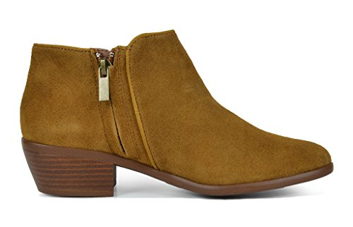 TOETOS-DALLAS-Womens-Stylish-Cowboy-Chunky-Block-Heel-Zipper-Closure-Suede-Leather-Ankle-Booties-Tan-Size-12-0-1