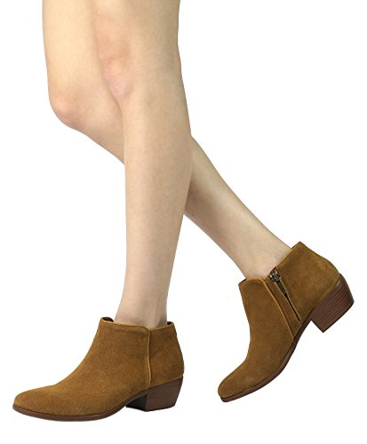 TOETOS-DALLAS-Womens-Stylish-Cowboy-Chunky-Block-Heel-Zipper-Closure-Suede-Leather-Ankle-Booties-Tan-Size-12-0-2