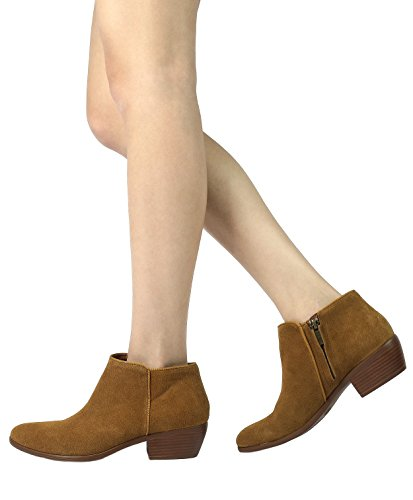 TOETOS-DALLAS-Womens-Stylish-Cowboy-Chunky-Block-Heel-Zipper-Closure-Suede-Leather-Ankle-Booties-Tan-Size-12-0-3
