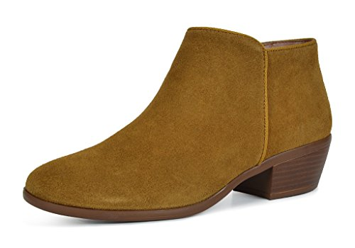 TOETOS-DALLAS-Womens-Stylish-Cowboy-Chunky-Block-Heel-Zipper-Closure-Suede-Leather-Ankle-Booties-Tan-Size-12-0
