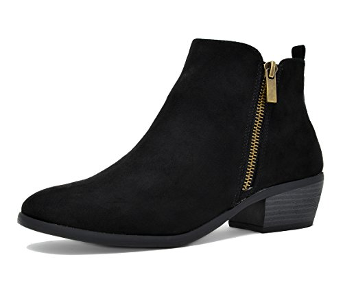 TOETOS-PITTS-06-Womens-Stylish-Cowboy-Chunky-Block-Heel-Zipper-Closure-Ankle-Booties-BLACK-SUEDE-SIZE-12-0