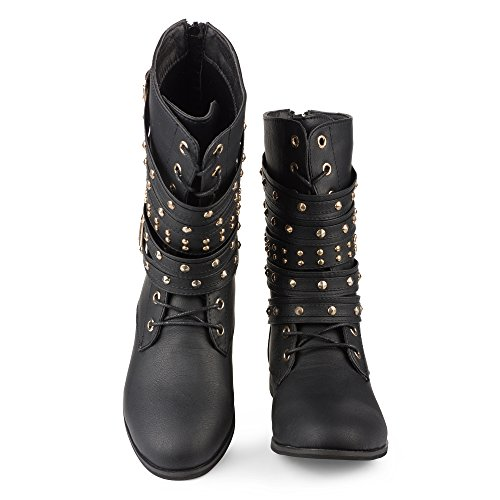 Twisted-Womens-BREE-Tall-Lace-Up-Military-Boot-BREE01-BLACK-Size-12-0-0