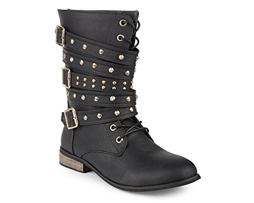 Twisted-Womens-BREE-Tall-Lace-Up-Military-Boot-BREE01-BLACK-Size-12-0