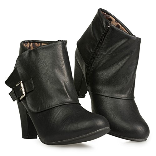 Twisted-Womens-Hailey-Wide-Width-Cuffed-Buckled-Ankle-Bootie-BLACK-Size-12-0-1