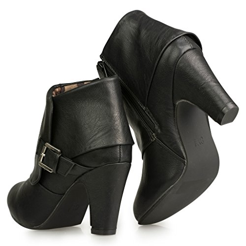 Twisted-Womens-Hailey-Wide-Width-Cuffed-Buckled-Ankle-Bootie-BLACK-Size-12-0-2