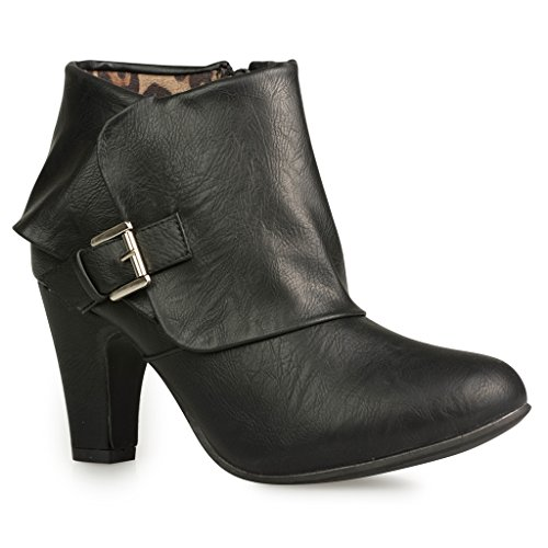 Twisted-Womens-Hailey-Wide-Width-Cuffed-Buckled-Ankle-Bootie-BLACK-Size-12-0