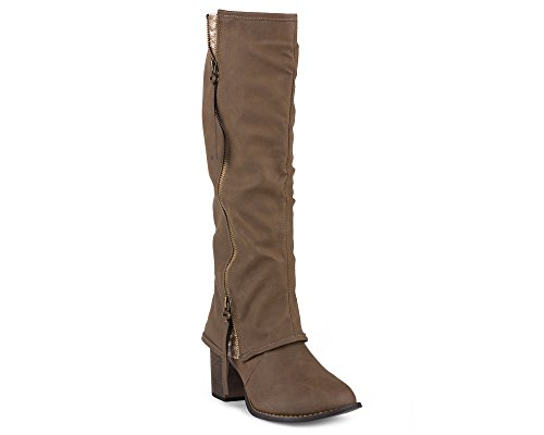 Twisted-Womens-Tall-Zipper-Insert-Kitten-Heel-Fashion-Boot-with-Sequin-Underlay-LISA70-LT-TAUPE-Size-12-0