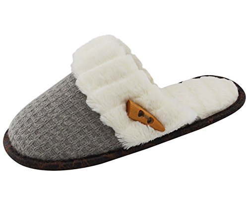 Vonmay-Womens-Elegant-Knitted-Cozy-Plush-Fleece-Lined-Slip-On-Indoor-House-Slippers-7-8-BM-US-Gray-0