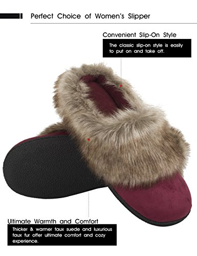 Vonmay-Womens-Faux-Suede-Fur-Slip-On-Memory-Foam-Clog-House-Slippers-Indoor-Outdoor-9-10-BM-US-Burgundy-0-0