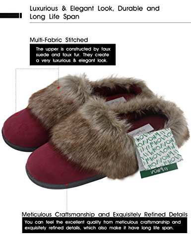 Vonmay-Womens-Faux-Suede-Fur-Slip-On-Memory-Foam-Clog-House-Slippers-Indoor-Outdoor-9-10-BM-US-Burgundy-0-1