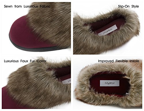 Vonmay-Womens-Faux-Suede-Fur-Slip-On-Memory-Foam-Clog-House-Slippers-Indoor-Outdoor-9-10-BM-US-Burgundy-0-3
