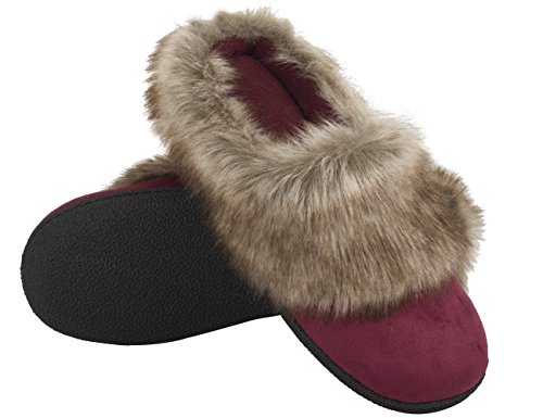 Vonmay-Womens-Faux-Suede-Fur-Slip-On-Memory-Foam-Clog-House-Slippers-Indoor-Outdoor-9-10-BM-US-Burgundy-0