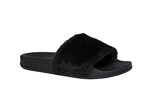Women-Open-Toe-Fuzzy-Furry-Faux-Fur-Rubber-Soles-Platform-Flip-Flop-Slip-On-Sandals-8-Black-0