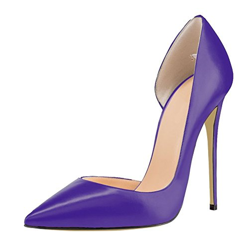 Women-Pointed-Toe-Dorsay-High-Heels-Slip-On-Stiletto-Pumps-Fashion-Dress-Shoes-Purple-Size-14-0