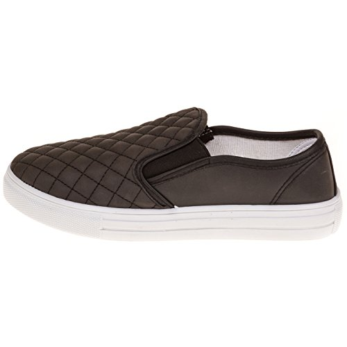 Womens-Dover-Fashion-Faux-Leather-Quilted-Slip-On-Shoe-Wide-Width-size-12-Black-0-0