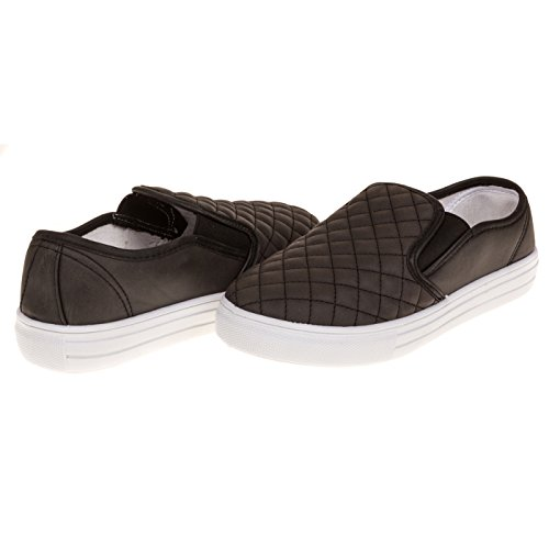 Womens-Dover-Fashion-Faux-Leather-Quilted-Slip-On-Shoe-Wide-Width-size-12-Black-0