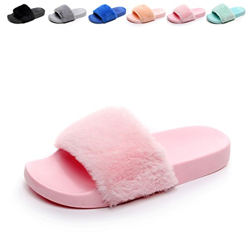 Womens-Flip-Flop-Faux-Fuzzy-Fur-Slide-Slip-On-Flat-Sandal-Shoe-Slipper-Light-Pink-75-8-BM-US-0
