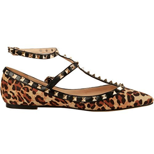 Calaier-Womens-Caforty-Elegant-Girls-Designer-Luxury-Fashion-Leopard-Print-T-Strap-Rivet-Studded-Ankle-Strap-Pointed-Toe-05CM-Flat-Buckle-Flats-Multicoloured-12-BM-US-0-2