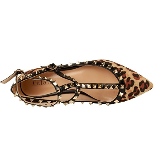 Calaier-Womens-Caforty-Elegant-Girls-Designer-Luxury-Fashion-Leopard-Print-T-Strap-Rivet-Studded-Ankle-Strap-Pointed-Toe-05CM-Flat-Buckle-Flats-Multicoloured-12-BM-US-0-4