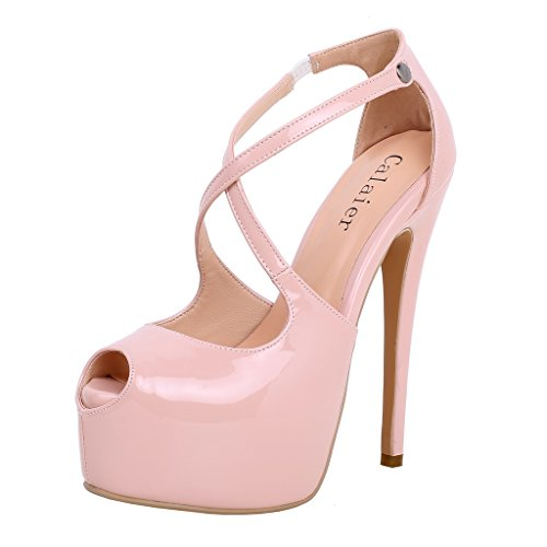 Calaier-Womens-Cagroup-Sexy-Fashion-Ladies-Wedding-Party-Comfortable-Platform-Round-Toe-16CM-Stiletto-Buckle-Pumps-Pink-12-BM-US-0
