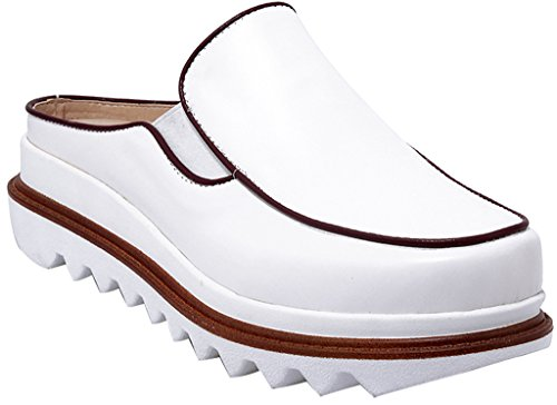 Calaier-Womens-Cainformation-Closed-Toe-45CM-Flat-Slip-on-Mule-Shoes-White-85-BM-US-0