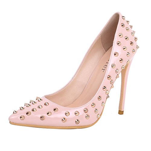 Calaier-Womens-Canight-New-Cute-Dress-Party-Designer-Pointed-Toe-12CM-Stiletto-Slip-on-Pumps-Pink-12-BM-US-0