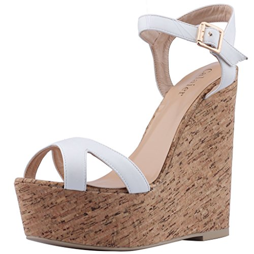 Calaier-Womens-Canothing-Open-Toe-165CM-Wedge-Heel-Buckle-Sandals-Shoes-White-13-BM-US-0