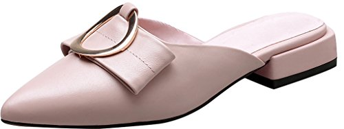 Calaier-Womens-Caservice-Pointed-Toe-2CM-Block-Heel-Slip-on-Mule-Shoes-Pink-65-BM-US-0