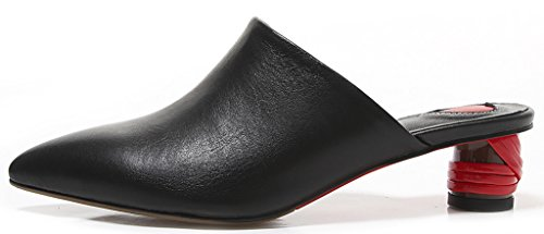 Calaier-Womens-Cathrough-Pointed-Toe-4CM-Block-Heel-Slip-on-Mule-Shoes-Black-85-BM-US-0-0