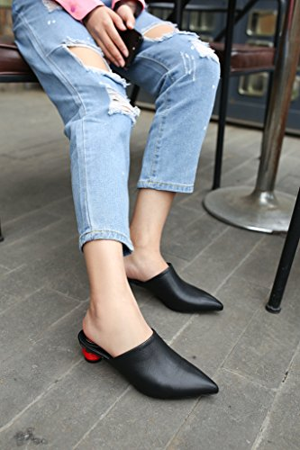 Calaier-Womens-Cathrough-Pointed-Toe-4CM-Block-Heel-Slip-on-Mule-Shoes-Black-85-BM-US-0-2