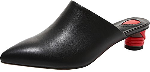 Calaier-Womens-Cathrough-Pointed-Toe-4CM-Block-Heel-Slip-on-Mule-Shoes-Black-85-BM-US-0