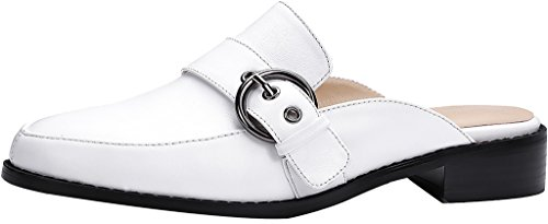 Calaier-Womens-Catogether-Closed-Toe-25CM-Block-Heel-Slip-on-Mule-Shoes-White-6-BM-US-0