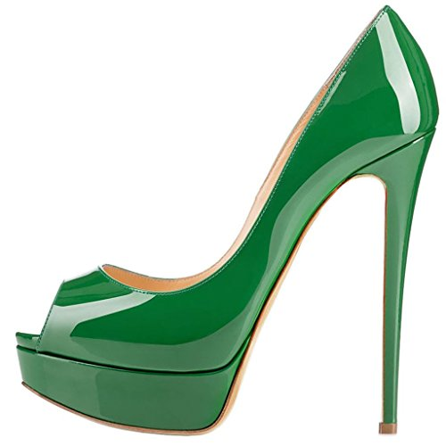 Calaier-Womens-Cawinner-Peep-Toe-16CM-Stiletto-Slip-on-Pumps-Shoes-Green-10-BM-US-0
