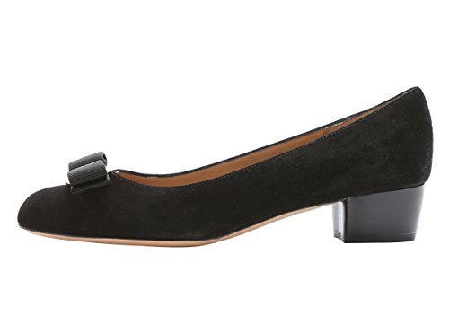 Guoar-Womens-Closed-Toe-Block-Heels-Patent-Bowknot-Pumps-Shoes-Low-Heels-For-Dress-Party-Black-suede-US11-0