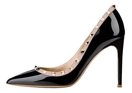Guoar-Womens-Rivet-Shoes-High-Heel-Flats-Big-Size-Sandals-Pointed-Toe-Studded-Pumps-for-Wedding-Party-Dress-Black-US10-0